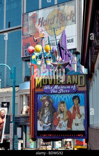 Attractions on Clifton Hill, Niagara Falls - Movieland Wax Museum of the Stars - Stock-Bilder