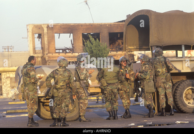 National Guardsmen taking meal break 1992 riots South Central Los Angeles California - Stock Image