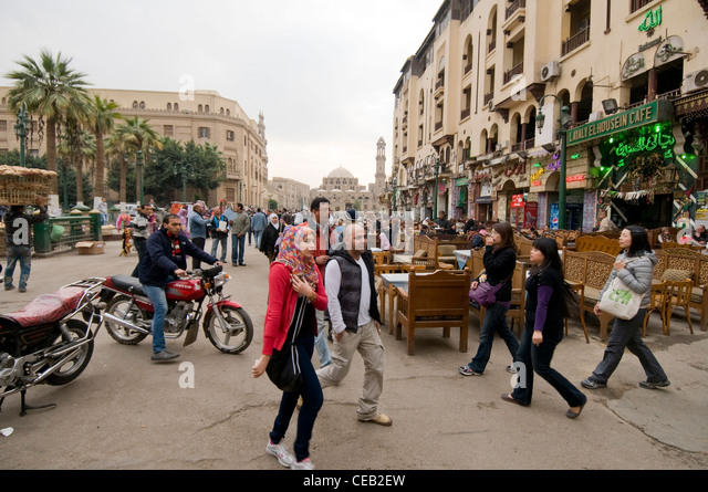 Cafes at entrance of Khan El Khalili market Old Cairo Egypt - Stock Image