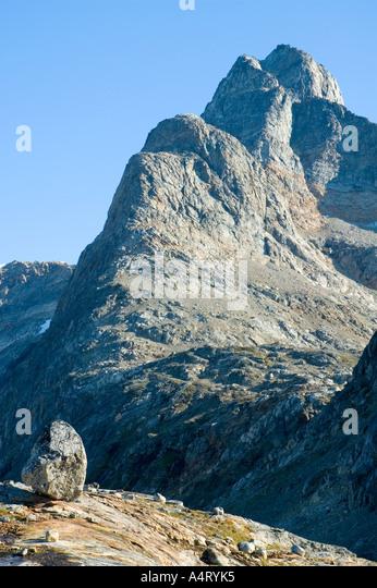 The peak of Polhems Fjeld (1030m), Angmagssalik Island, Sermilik Fjord, East Greenland - Stock Image