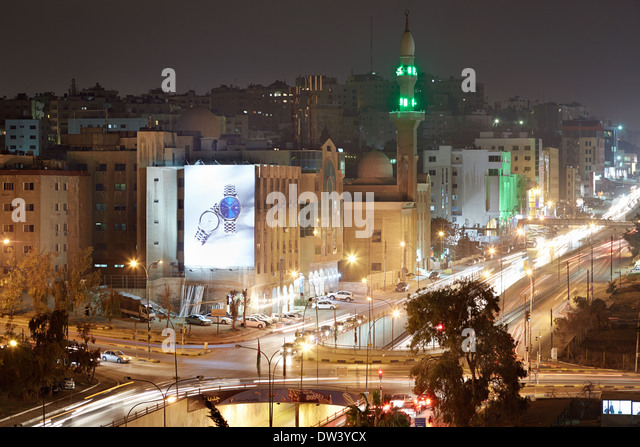 Amman city lights of the streets in the night - Stock Image