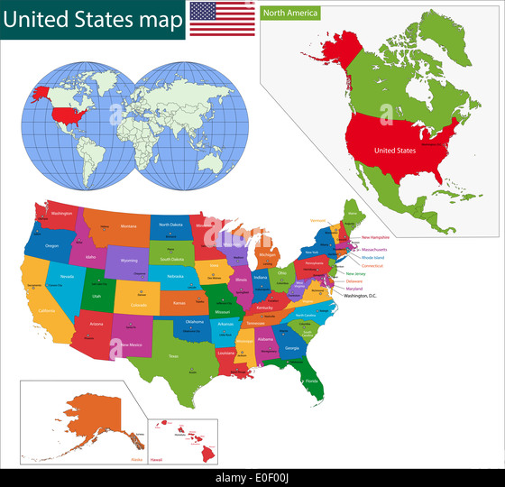 states map alaska and hawaii stock united