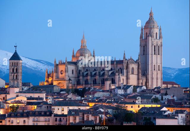Segovia Cathedral Illuminated, Segovia, Spain - Stock Image