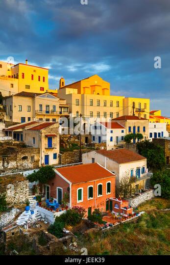 View of Ioulida village on Kea island in Greece. - Stock Image