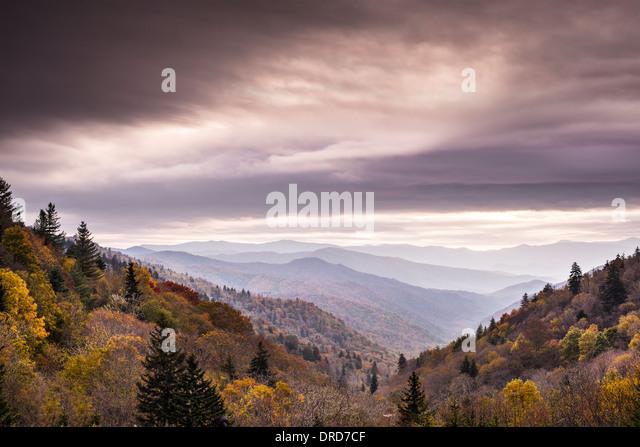 Smoky Mountains National Park on a cloudy autumn morning. - Stock-Bilder