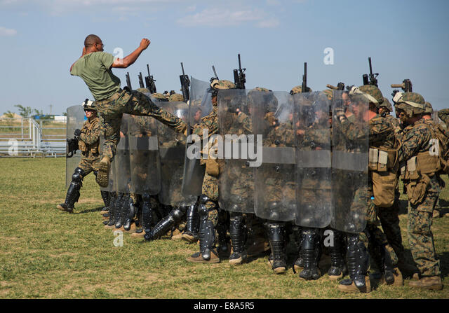 U.S. Marines with Golf Company, 2nd Battalion, 2nd Marine Regiment, assigned to Black Sea Rotational Force 14-2A, - Stock Image