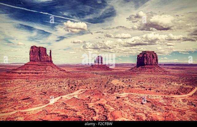 Retro old style photo of Monument Valley Navajo Tribal Park, Utah, USA. - Stock Image