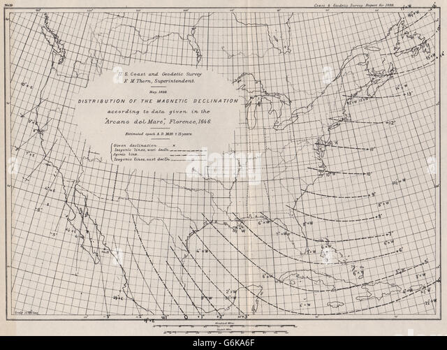 how to find magnetic declination on a map