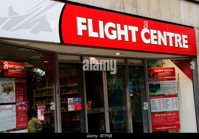 Flight Centre travel agents shop window, London, England, UK - Stock-Bilder