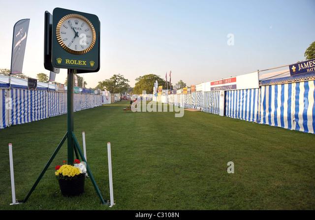 Empty shopping area as the sun rises. Mitsubishi Badminton Horse Trials. Little Badminton. Gloucestershire. - Stock Image