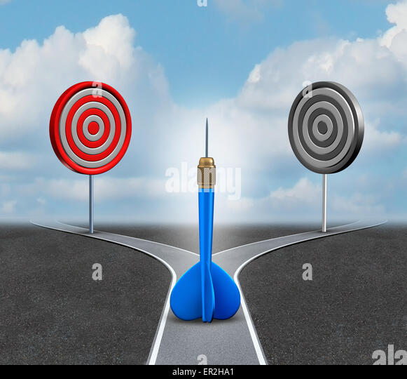 Strategy decision business concept as a confused blue dart deciding which bull eye target to aim for as a metaphor - Stock Image