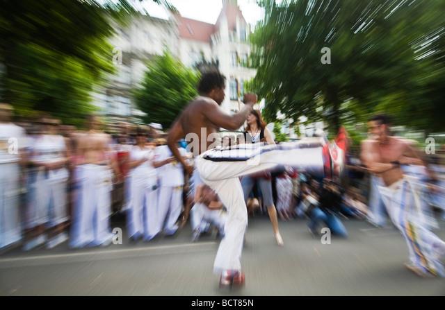 Dancing open-chested man at the Karneval der Kulturen Carnival of Cultures, Kreuzberg district, Berlin, Germany, - Stock-Bilder
