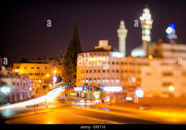 Crossroad at night, Amman, Jordan, Middle East - Stock Image