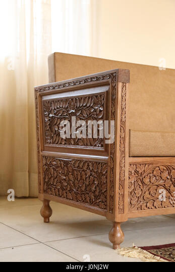 Wooden carved furniture stock photos