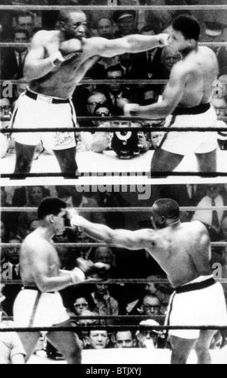 The first Sonny Liston vs. Cassius Clay (Muhammad Ali) fight in Miami, 1964 - Stock Image