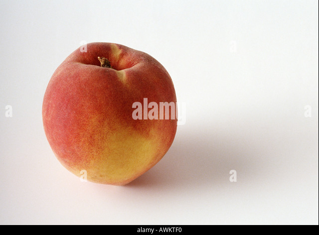 Peach, close-up, white background - Stock Image