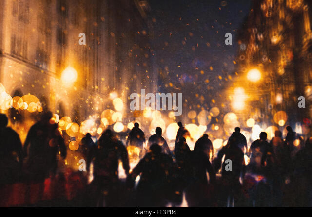 group of zombie walking through burning city,illustration painting - Stock Image
