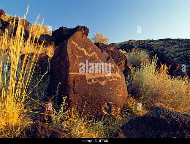 Petroglyphs, Rinconada Canyon, Petroglyph National Monument, Albuquerque, New Mexico USA - Stock Image