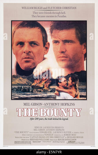 THE BOUNTY, poster, from left: Anthony Hopkins, Mel Gibson; bottom right: Tevaite Vernette, 1984. ©Orion Pictures/courtesy - Stock Image
