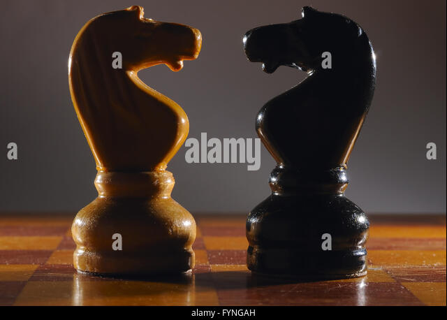 Chess knights. The concept of confrontation - Stock-Bilder