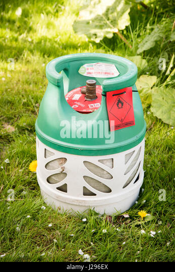 A 5 kilogram bottle of BP gaslite a lightweight butane gas cylinder for caravanning camping abd BBq's - Stock Image