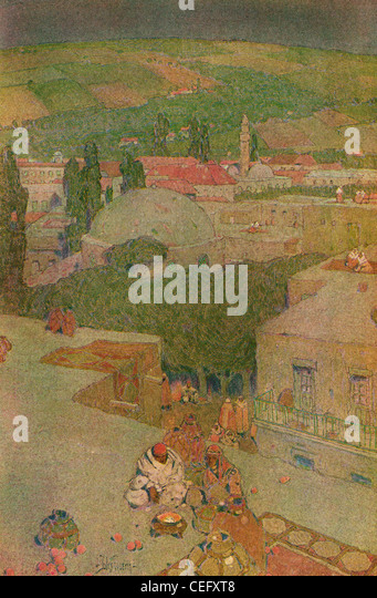 "Plate 10, ""Housetops of Nazareth,"" Israel, by Jules Guerin, 1920, J. H. Jansen, Cleveland, Publisher. - Stock Image"