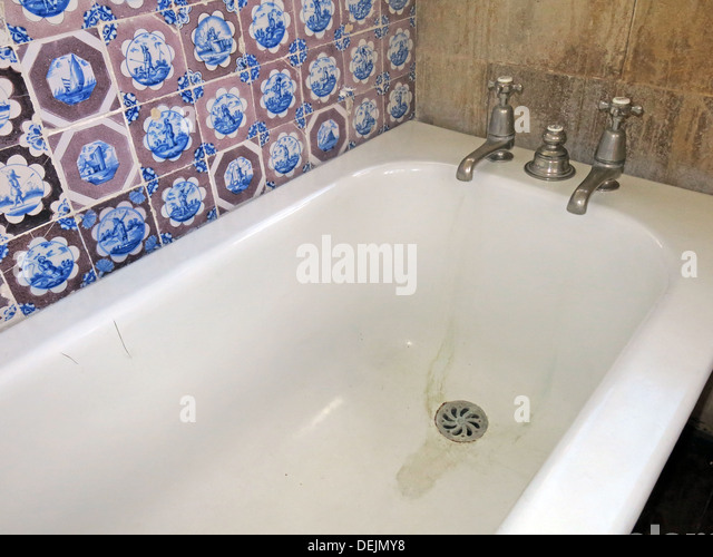 Bathroom detail and dutch tiles at Barrington Court, Ilminster, Somerset , UK TA19 0NQ - Stock Image
