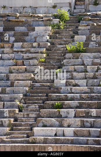 Detail of the theater at Ephesus, Turkey - Stock Image