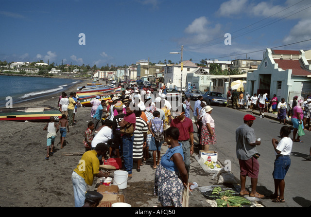 West Indies St. Kitts Basseterre Bay Basseterre Bay Road produce vendors marketplace - Stock Image