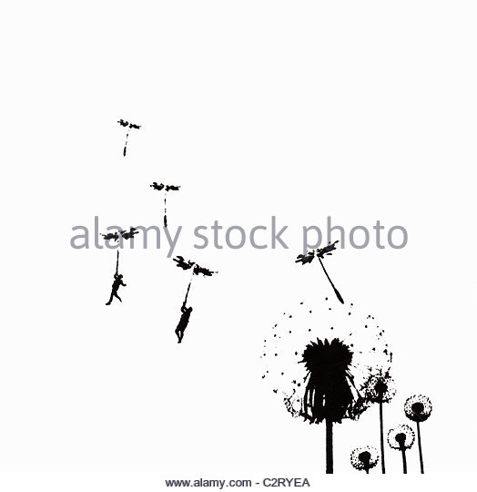 People floating away on dandelion seed - Stock Image