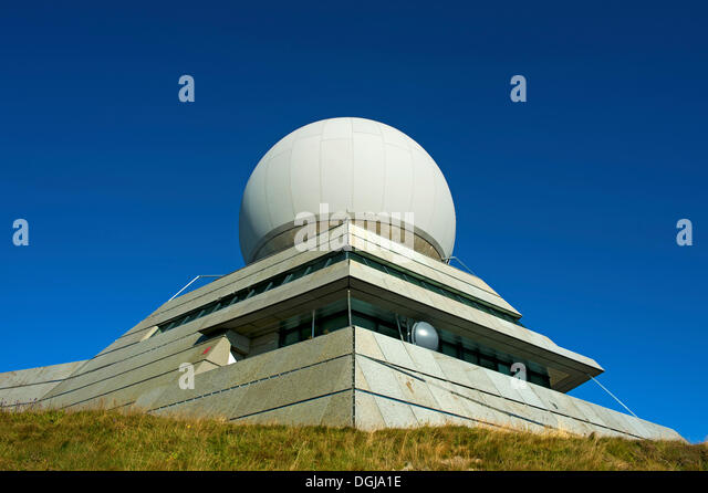 Radome of the radar station for civil aviation at the summit of Groser Belchen or Grand Ballon Mountain near Guebwiller, - Stock Image