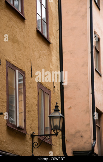 Old wall lamp in streets of Gamla Stan, Stockholm Sweden . - Stock Image