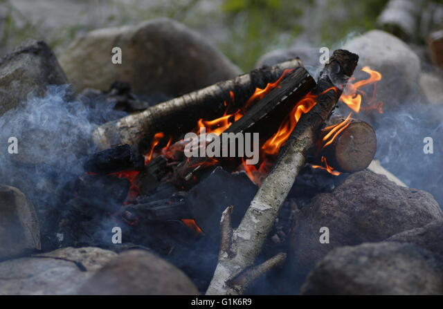 Red Flame On Logs Stock Photos Amp Red Flame On Logs Stock