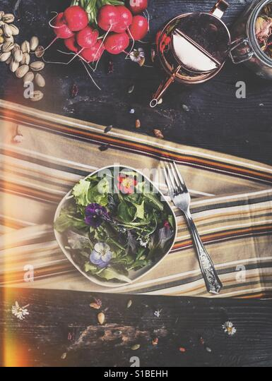 Salad with flowers - Stock Image