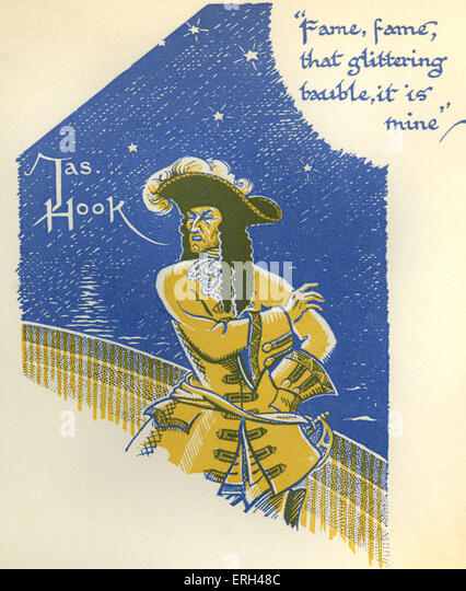 J. M. Barrie 's 'Peter Pan'. Captain Hook; 'Fame, fame, that glittering bauble, it is mine'. - Stock Image
