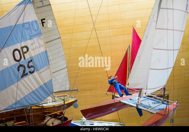 Display of small sailing boats at the National Maritime Museum, Falmouth, Cornwall, England - Stock Image