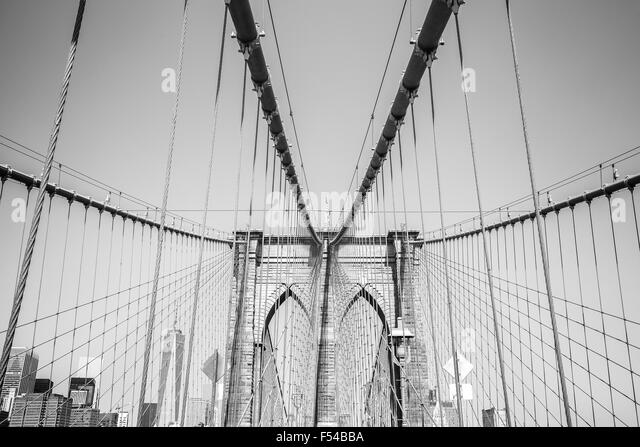 Black and white photo of the Brooklyn Bridge, NYC, USA. - Stock Image