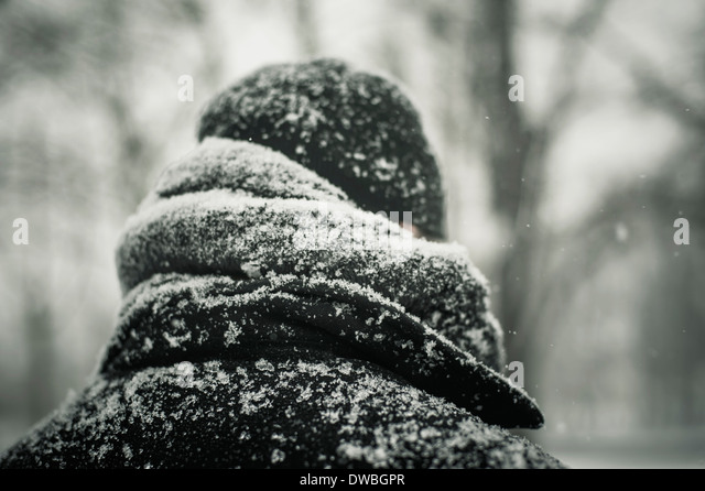 Man in black jacket in snow, close-up - Stock Image