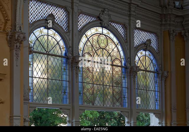 Historical glass window, New Colonnade, Nová kolonáda, Mariánské Lázn?, Karlovy Vary Region, - Stock-Bilder