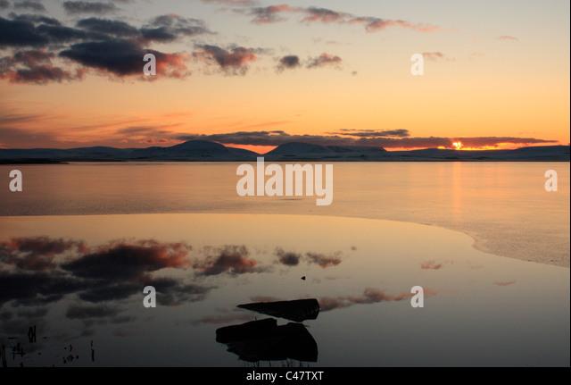 Orkney, Harray Loch in winter - Stock Image