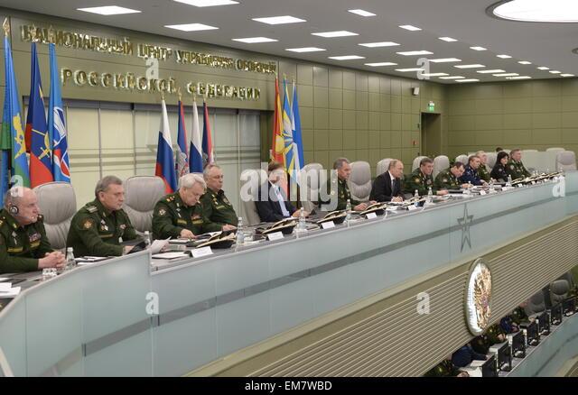 Moscow, Russia. 17th Apr, 2015. Russia's Deputy Defence Ministers Pavel Popov, Nikolai Pankov, Yuri Borisov, - Stock Image