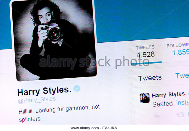 Harry Styles' Twitter account - screenshot of profile page - Stock-Bilder