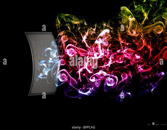 Colour sound waves coming from stereo speaker - Stock-Bilder