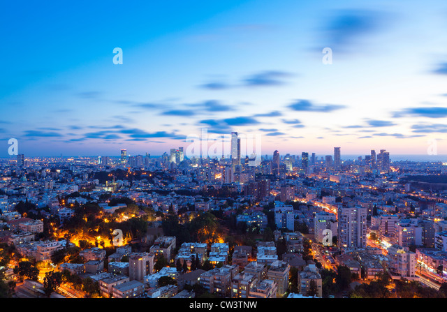 Tel Aviv and Ramat Gan Skyline at sunset - Stock Image