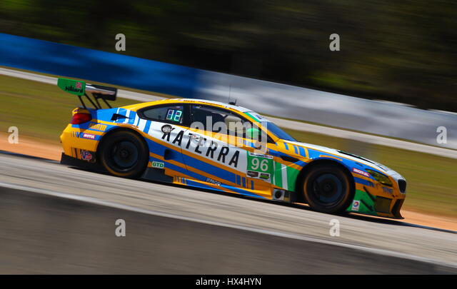 The Turner BMW with the Katerra livery races past turn 7 towards the northern part of the Sebring circuit. - Stock-Bilder