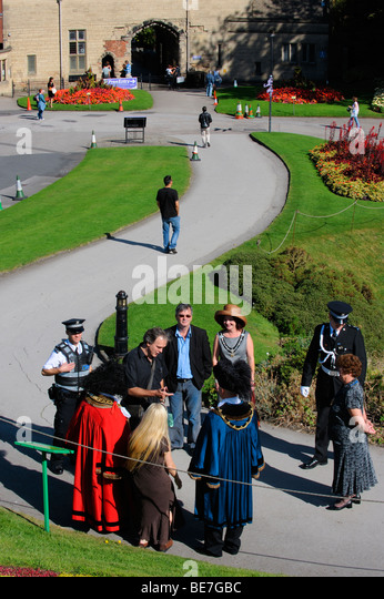 Nottinghams civic dignataries in the grounds of Nottingham Castle - Stock Image