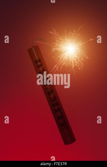 conflagrant dynamite stick close up - Stock Image