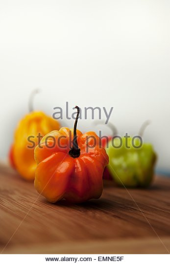 Several Habanero chillies - Stock Image