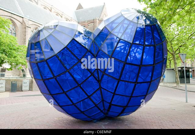 Big Blue Glass Heart Love Delft Holland Netherlands Europe - Stock-Bilder