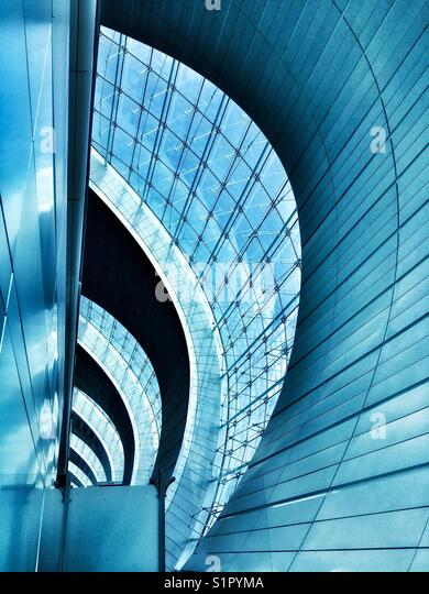 Graphic shapes and architectural patterns seen at Dubai International Airport. - Stock Image